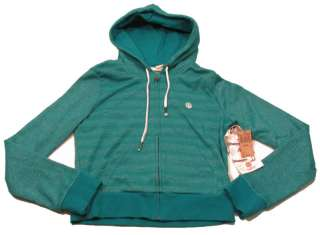 ELEMENT Girls M Turquoise Blue Stripe Zip Hoodie Sweatshirt NWT $39