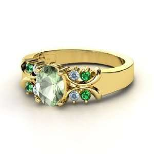 Gabrielle Ring, Oval Green Amethyst 14K Yellow Gold Ring