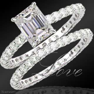 15 Ct. Emerald Cut Diamond Bridal Ring Set F SI1 EGL