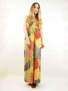 Vtg 70s PATCHWORK Floral Calico EMPIRE Hippie Boho HALTER Maxi Dress S