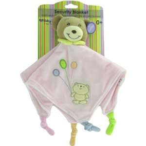 Baby Bow Teddy Bear Rattle Blanket in Pink by Russ Baby