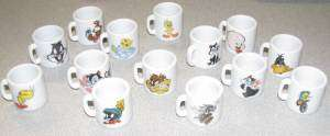 14 pc Looney Tunes Mini Coffee Mug Set, Tweety, Donald, Porky & More