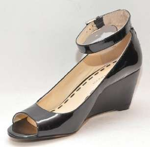 ENZO ANGIOLINI Qamra Black Patent Leather Wedge Sandal Women Shoes 6.5