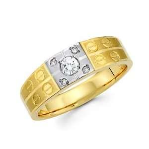 Size  9.5   .19ct Diamond 14k Yellow n White Gold Mens Wedding Ring