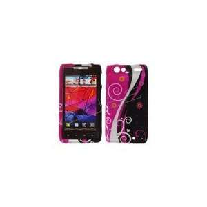 Black and Hot Pink Retro Rubberized Design Cell Phones & Accessories