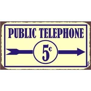 Public Telephone Vintage Metal Service Retro Tin Sign Home & Kitchen