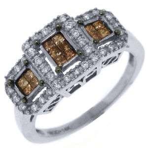 WOMENS LADIES CHOCOLATE BROWN CHAMPAGNE DIAMOND ANNIVERSARY RING 14K