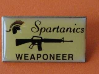 Spatanics Weaponeer M16 Gun Training Machine Pin Badge Enamel Metal