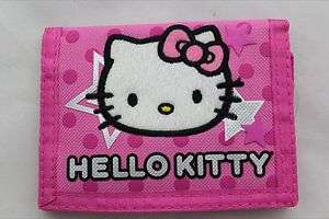 Hello Kitty Kids Canvas Trifold Wallet   PINK STAR