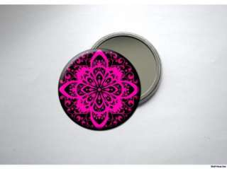 PINK & BLACK WORK OF ART Pocket /Purse Mirror