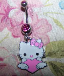 oligos~ Hello Kitty I LOVE YOU Pink Heart Belly Ring