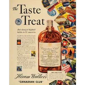 1936 Ad Hiram Walkers Canadian Club Whisky Stamps