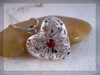 Swarovski Ruby Crystal Silver Heart Love Picture Locket Charm Pendant