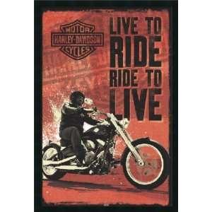 Harley Davidson   Live to Ride Framed with Gel Coated