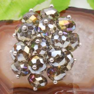 Grey AB Crystal Faceted Bead Ring Adjustable US 7 10