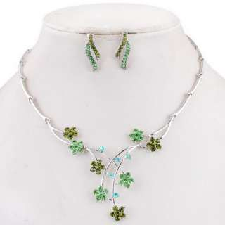 Necklace Earrings Set Flowers Branch Joint AB Colorful Inlay Czech