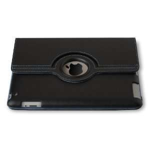 Black iPad 2 Magnetic Smart Cover Leather Case Rotating