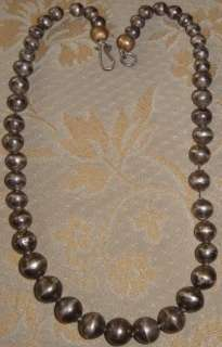 ANTIQUE 16 INCH NAVAJO PEARLS STERLING SILVER GRADUATED BEAD NECKLACE