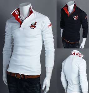 Mens Casual Design Baseball Team Logo Patch Polo T Shirts INDIAN (US