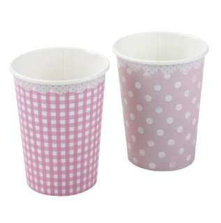 GIRLS GINGHAM & SPOTTY PARTY PAPER CUPS / PLATES and/or NAPKINS