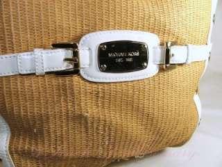 Michael Kors Panama Large Shoulder Tote Straw Bag Purse
