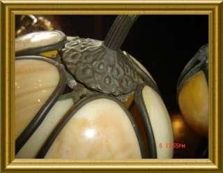 GORGEOUS C1930 ART NOUVEAU SLAG GLASS TABLE LAMP TULIP FLOWERS SHADES