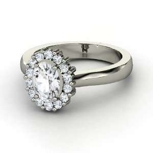 Princess Kate Ring, Oval White Sapphire Platinum Ring with