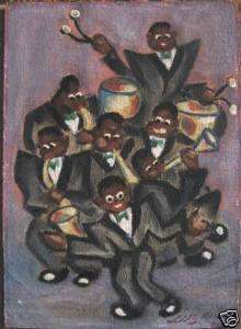 BEAUTIFUL AFRO AMERICAN BAND ACT ORIGINAL OIL PAINTING