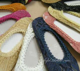 Pair Boat Socks Lady Women Low Cut Elastic Beautiful Lace Soft