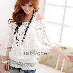 Ladies Lace Top Sexy Off Shoulder T Shirt Tank 2 Pieces Kit White