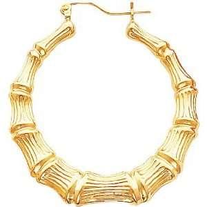 14K Yellow Gold Bamboo Hoop Earrings Jewelry New B