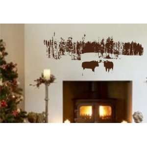 FOREST AND BISON WALL DECAL STICKER TREES GRAPHIC ART