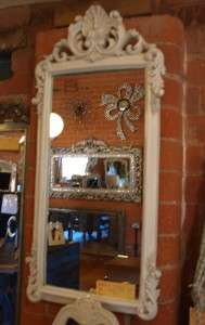 Ornate French Style White Wall Hanging Mirror 32x15