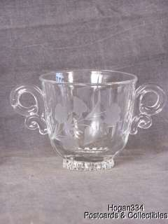 Vintage Double Handle Heisey Sugar Bowl Flower Design