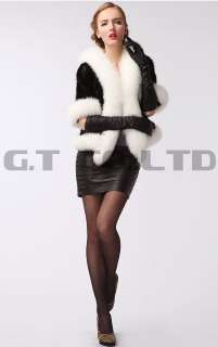 0403 women mink fur coat coats garment jacket with fox fur collar for