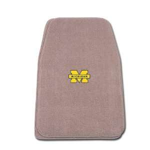 Beige Universal Fit Front Two Piece Floormat with NCAA Michigan Logo