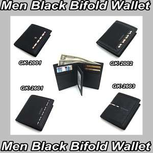 MENS BLACK NEW BIFOLD WALLET LEATHER NWB BIG HIT ITEM