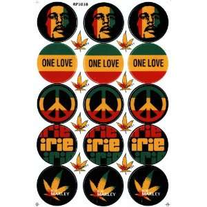 Bob Marley One Love Reggae Decal Sticker Sheet X27