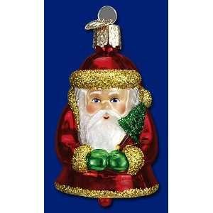 Mercks Old World Christmas Santa Claus bell glass