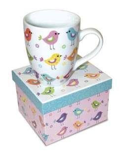 New BIRDS IN A ROW 12 oz Coffee Mug w Matching Gift Box