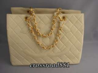 Authentic Chanel Quilted Cream Lamb Skin Leather Tote Bag Great