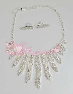 New hot style 6 Set Bridal Prom Crystal Rhinestone Necklace Earrings