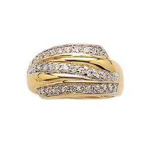 Ladies 18K Gold Plated Clear Cubic Zirconia 3 Row Band