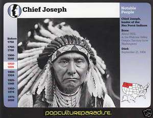 CHIEF JOSEPH Nez Perce Indians History Biography CARD