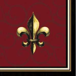 Cocktail Size Paper Napkin,Fleur De Lis Red:  Kitchen