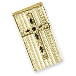 Gold tone Enameled Cross Money Clip/Mixed Metal Jewelry