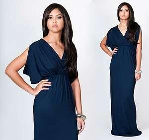 Navy Blue Grecian Open Shoulder Long Maxi Dress Large L