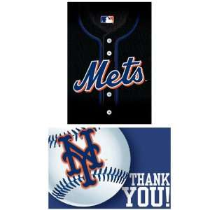 Lets Party By Amscan New York Mets Baseball   Invite & Thank You Combo