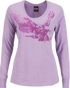 Harley Davidson Womens Fast Eagle Purple Long Sleeve Scoop T Shirt