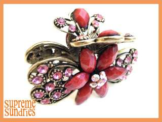 Pink Crystal Butterfly Alligator Jaw Hair Clip Claw 130